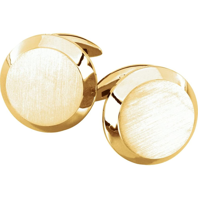 14k Yellow Gold Satin Brushed Round Beveled Cuff Links, 20.25MM