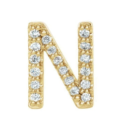 14k Yellow Gold Gold Diamond Letter 'N' Initial Stud Earring (Single Earring) (.07 Ctw, GH Color, I1 Clarity)