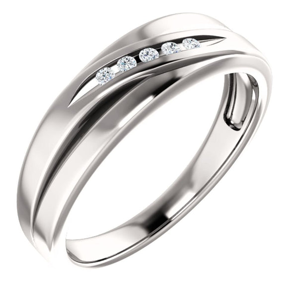 Men's Platinum 7-Stone Diamond Wedding Band (.03 Ctw, Color G-H, SI2-SI3 Clarity) Size 11.25