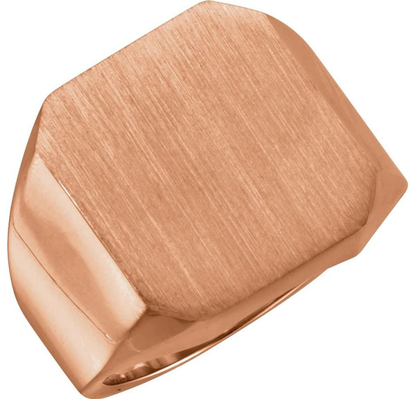 Men's Brushed Signet Ring, 18k Rose Gold, Size 9.25 (18X16MM)