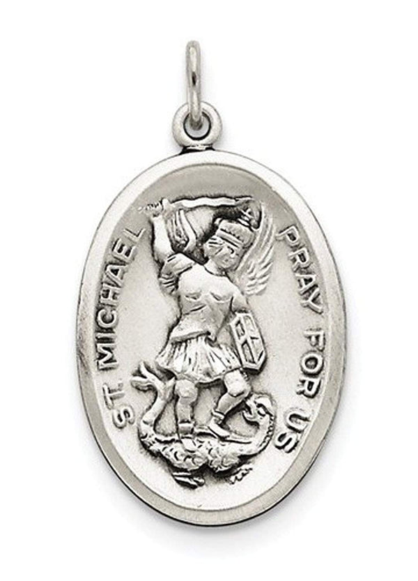 Sterling Silver Saint Michael Medal Charm Pendant (35X20 MM)