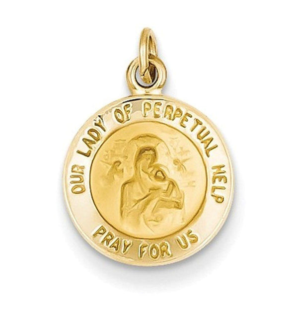 14k Yellow Gold Our Lady of Perpetual Help Medal Charm (17X12MM)