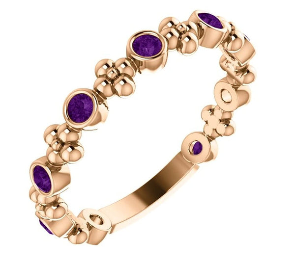 Genuine Amethyst Beaded Ring, 14k Rose Gold