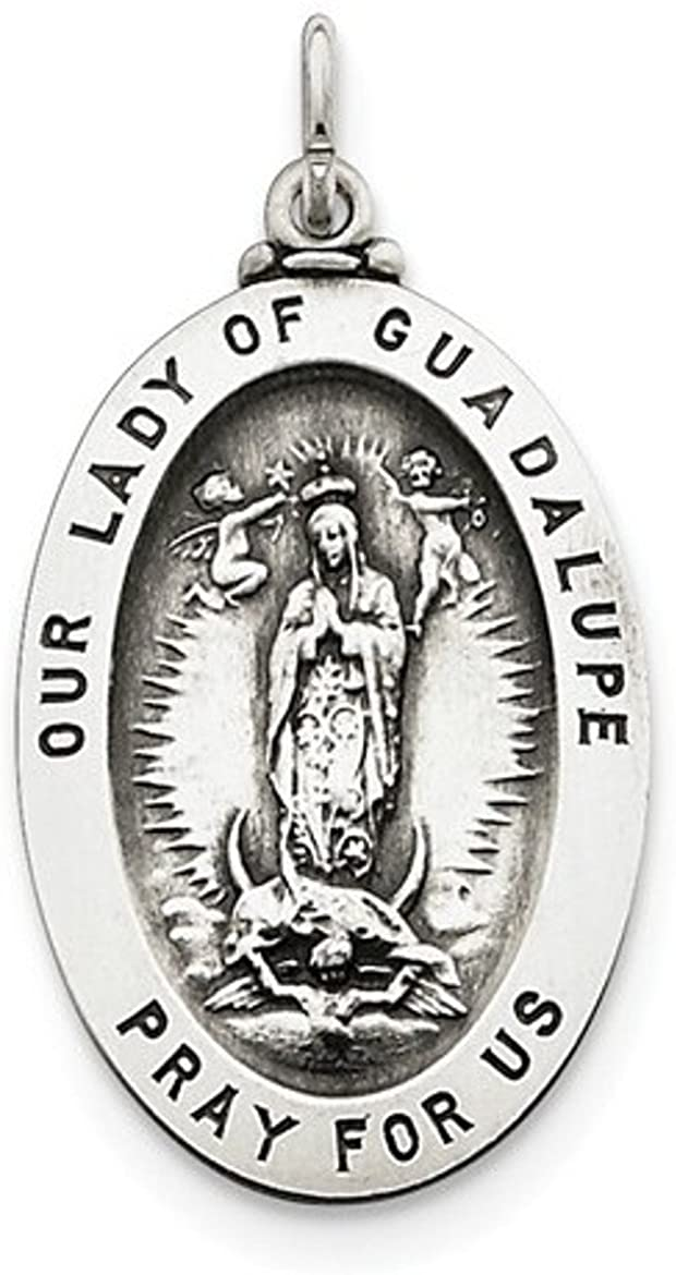 Sterling Silver Our Lady of Guadalupe Medal (37X20MM)