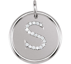 "Diamond Initial ""S"" Pendant, Rhodium-Plated 14k White Gold (0.1 Ctw, Color GH, Clarity I1)"