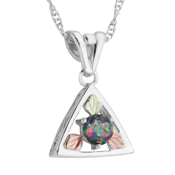 Round Mystic Fire Topaz Triangle Pendant Necklace, Sterling Silver, 12k Green and Rose Gold Black Hills Gold Motif, 18""