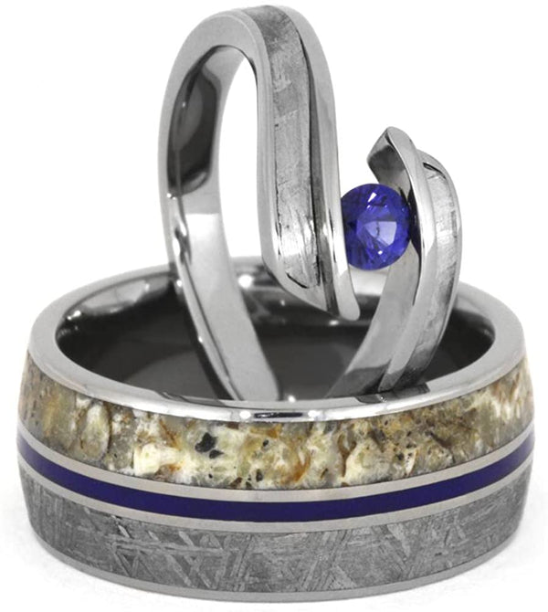 Blue Sapphire, Gibeon Meteorite Engagement Ring, Men's Gibeon Meteorite, Dinosaur Bone, His and Hers Titanium Wedding Band Set , M8-F9.5