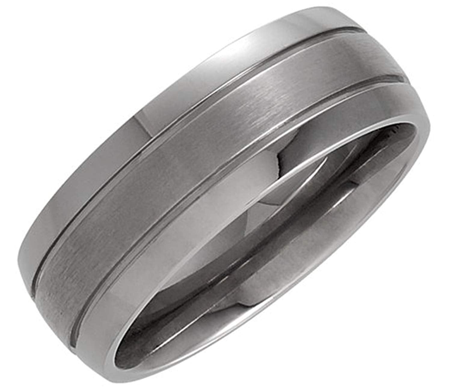 Matte Center and Polished Titanium 8mm Comfort Fit Band Size 8