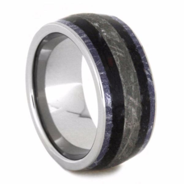 Dinosaur Bone, Gibeon Meteorite, Blue, Bronze and White Mokume 10mm Comfort-Fit Titanium Wedding Band