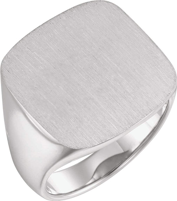 Men's Closed Back Square Signet Ring, 18k Palladium White Gold (20mm)