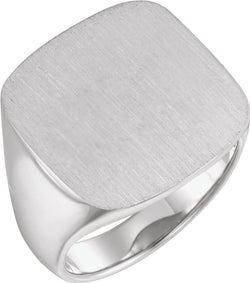 Men's Closed Back Signet Ring, Rhodium-Plated 14k White Gold (20mm)