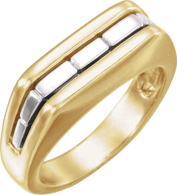 Two-Tone Men's Ring, Rhodium-Plated 14k Yellow and White Gold