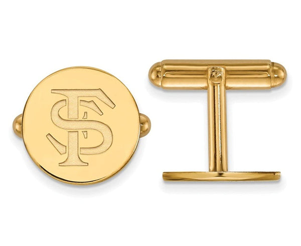 14k Yellow Gold Florida State University Round Cuff Links, 15MM