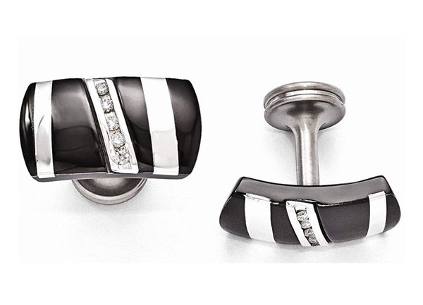 Rapture Collection Black Titanium and Sterling Silver Diamond Rectangular Cuff Links, 13X22MM (.19Ctw)