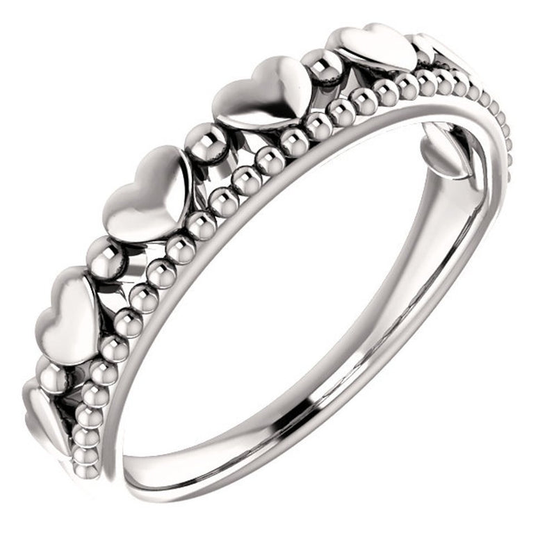Stackable Beaded Heart Comfort-Fit Ring, Sterling Silver, Size 4