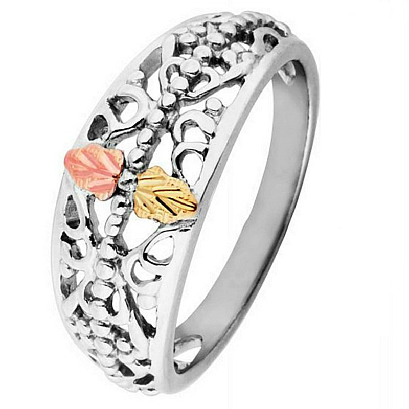 Scrollwork Tapered Ring, Sterling Silver, 12k Green and Rose Gold Black Hills Gold Motif, Size 6