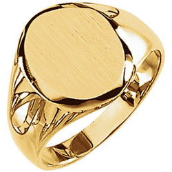 Men's Closed Back Brushed Oval Signet Semi-Polished 10k Yellow Gold Ring (13.25x10.75mm), Size 11