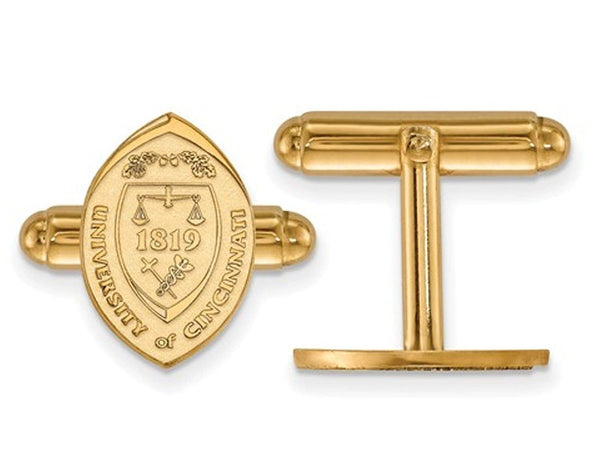 14k Yellow Gold University Of Cincinnati Crest Bullet Back Cuff Links, 16X11MM