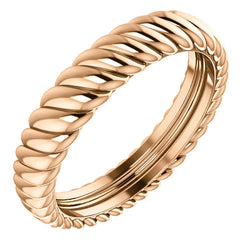 14k Rose Gold 3.75mm Comfort-Fit Rope Pattern Band, Size 4.5