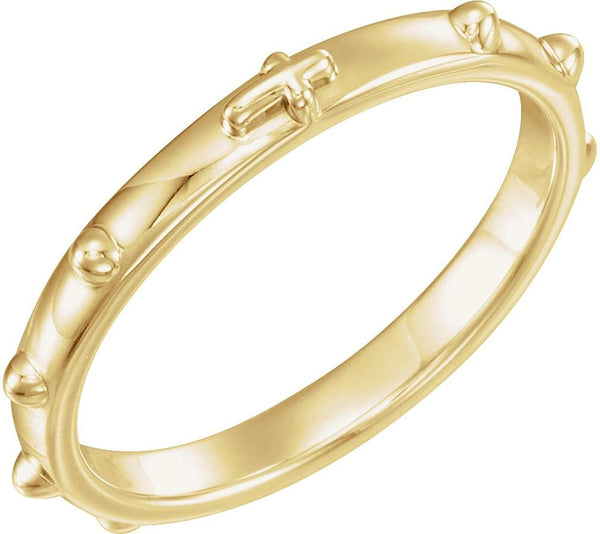 Semi-Polished 14k Yellow Gold 2.50mm Rosary Ring, Size 6
