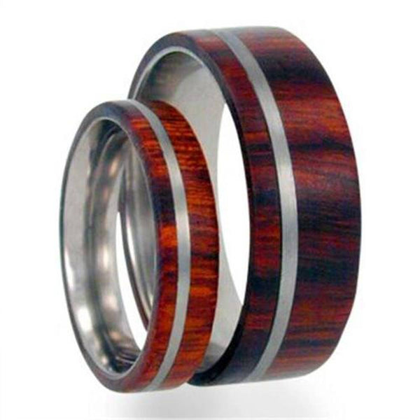 Titanium Pinstripe Ring, Ironwood, His and Hers Wedding Band Set, M10.5-F9.5