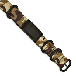 Men's Brushed Stainless Steel Black IP Brown Camo Fabric Adjustable ID Bracelet, 9.5""