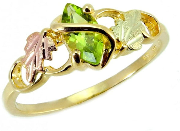 Marquise Peridot Slim Profile Ring, 10k Yellow Gold, 12k Green and Rose Gold Black Hills Gold Motif, Size 5.75