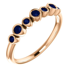 Blue Sapphire 7-Stone 3.25mm Ring, 14k Rose Gold