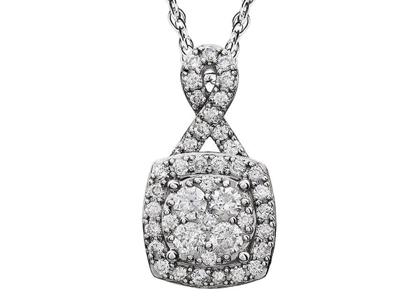 "Diamond Halo Cluster 14K White Gold Pendant Necklace, 18"" (3/4 Cttw)"