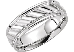 Grooved Comfort Fit 6.75mm 14k White Gold Milgrain Band, Size 6.5