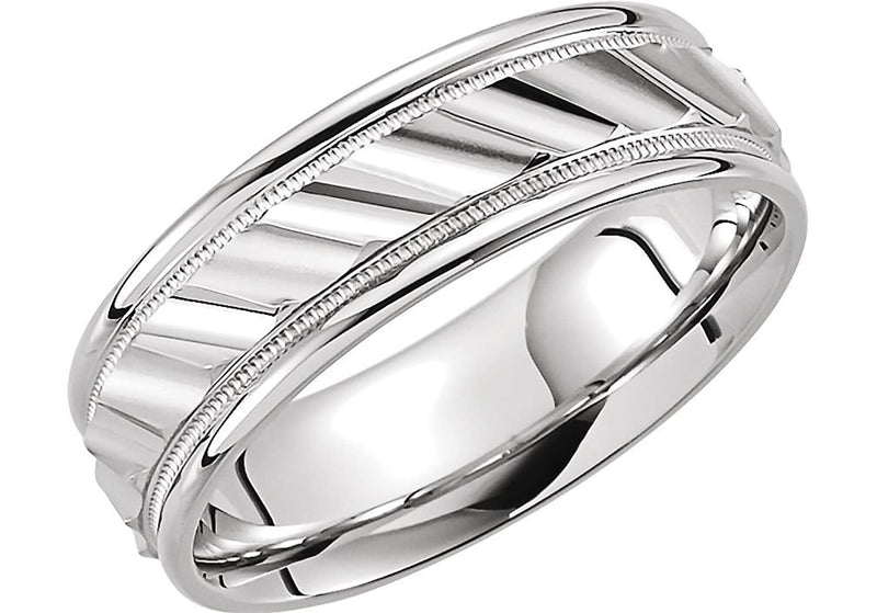 Grooved Milgrain Comfort Fit 6.75mm 10k White Gold Band