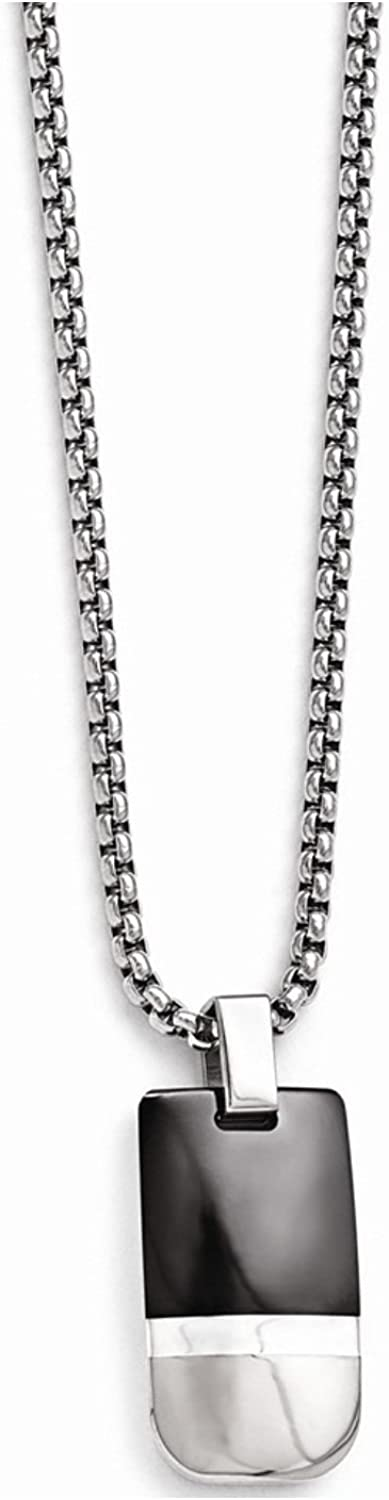 Edward Mirell Black Titanium and Sterling Silver Pendant Necklace, 20""