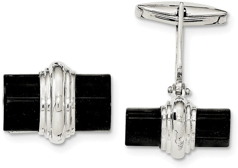 Sterling Silver Onyx Rectangle Cuff Links