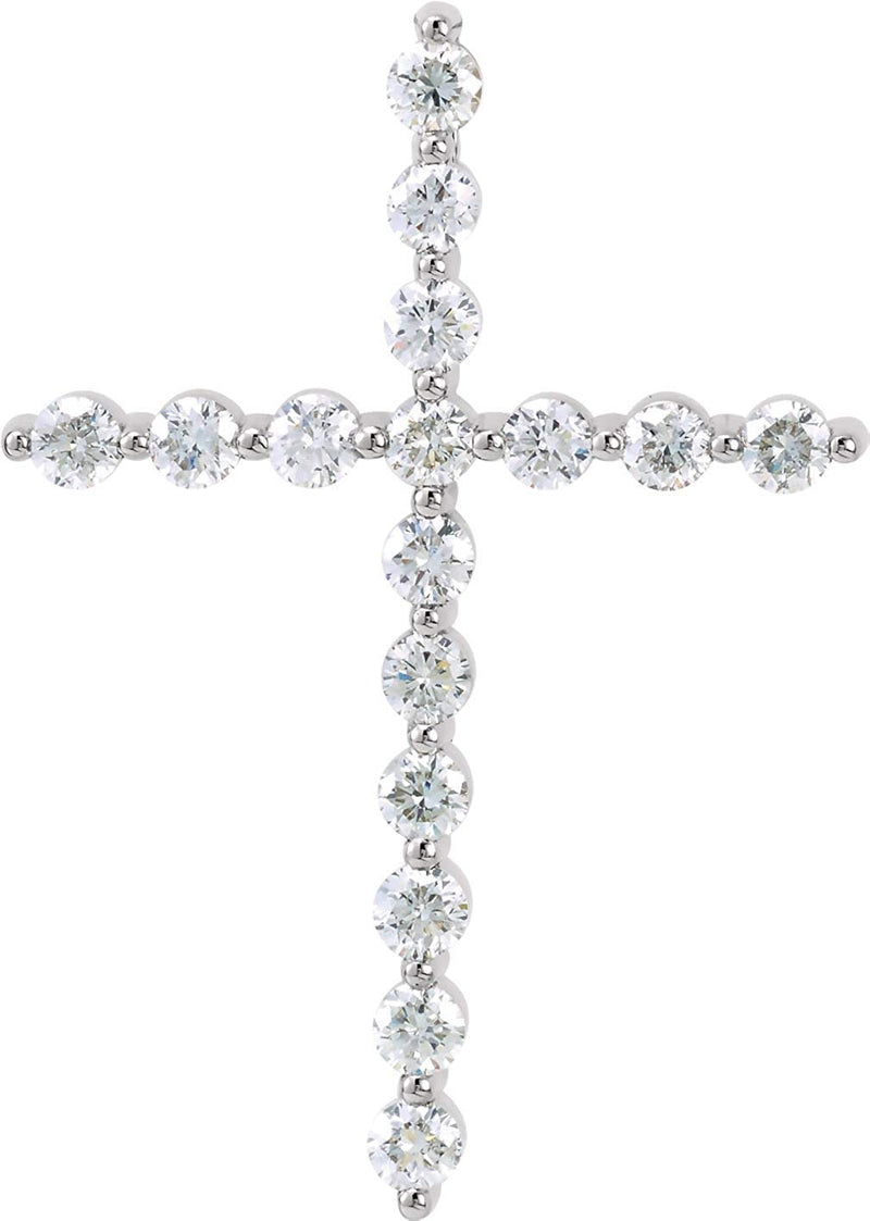 Platinum Diamond Cross Pendant (1 Ctw, G-H Color, I1 Clarity)
