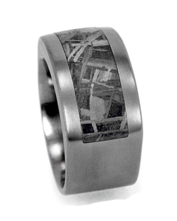 Square Gibeon Meteorite Inlay 10mm Comfort-Fit Matte Titanium Wedding Band