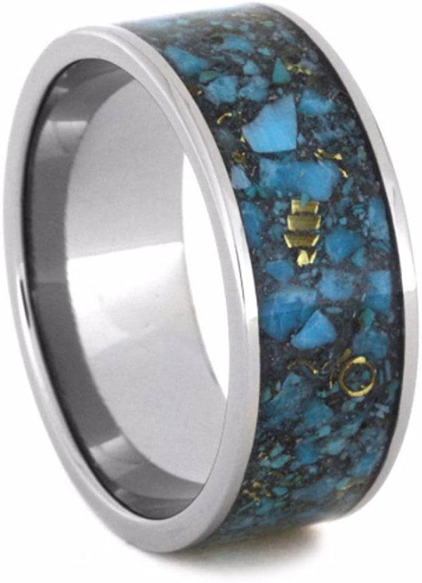 Crushed Turquoise and 14k Yellow Gold Inlay 10mm Comfort-Fit Titanium Wedding Band, Size 4.25