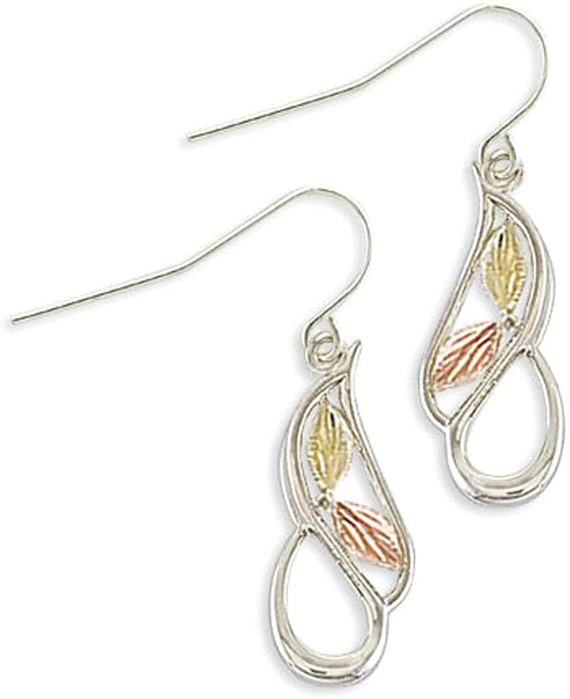 Flank Leaves with Swirl Earrings, Sterling Silver, 12k Green and Rose Gold Black Hills Gold Motif
