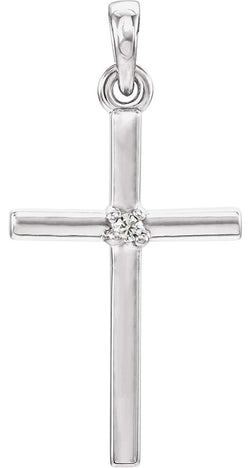 White Sapphire Inset Cross Rhodium-Plated 14k White Gold Pendant (22.65x11.4MM)