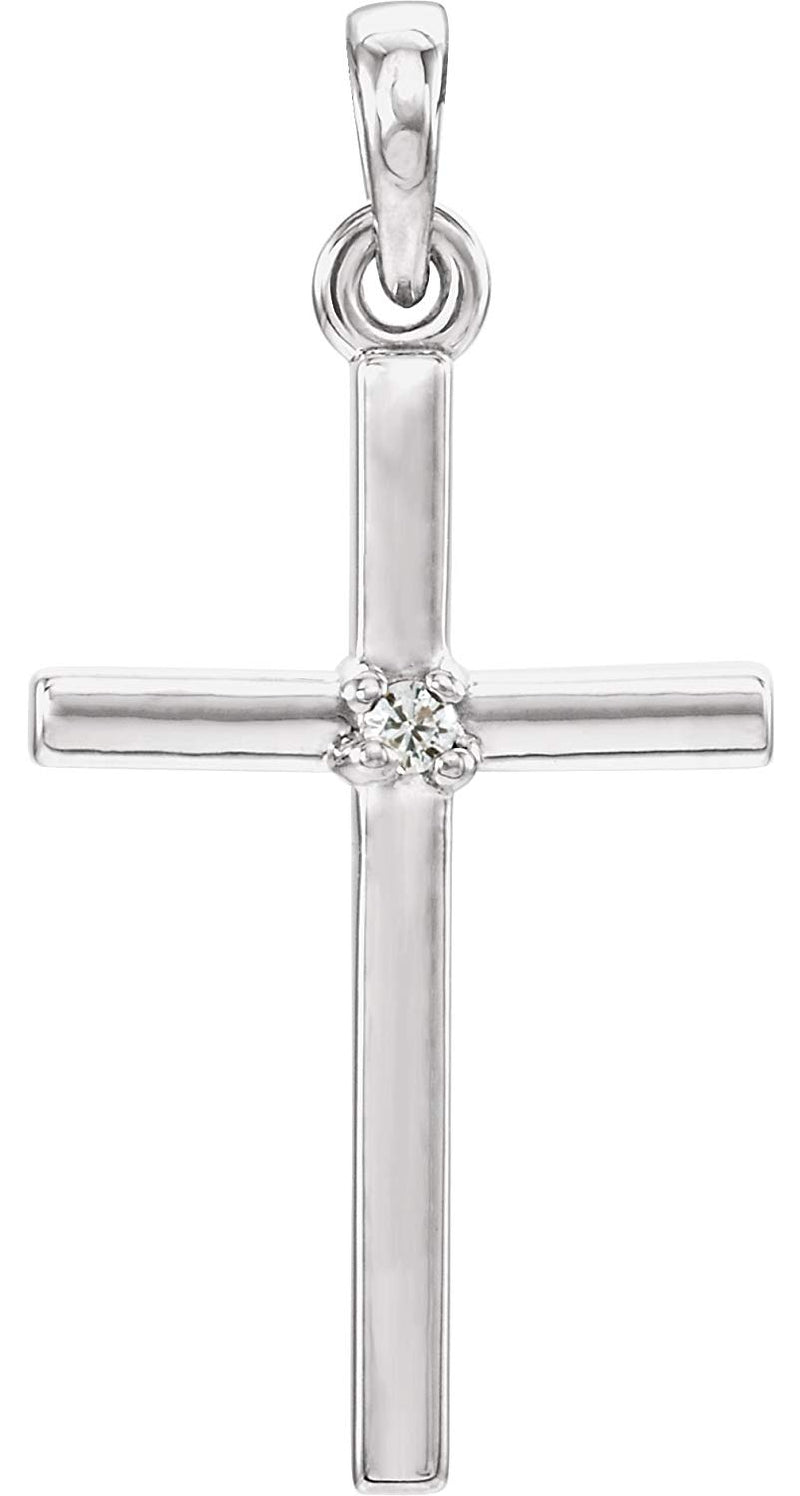Rhodium-Plated Platinum White Sapphire Inset Cross Pendant (22.65x11.4MM)