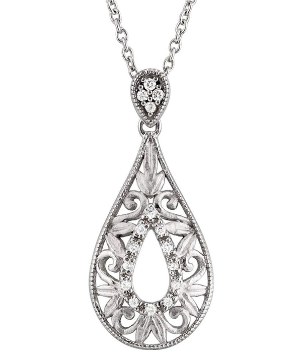 "16-Stone Diamond Teardrop Filigree Pendant Necklace, Sterling Silver, 18"" (1/10 Ctw)"
