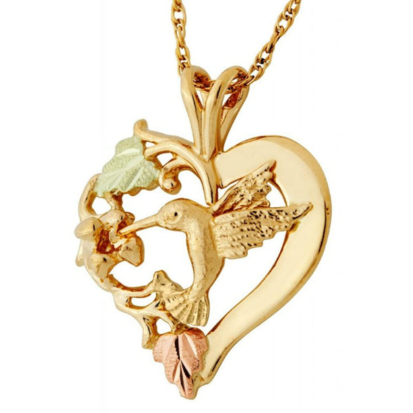 Scrollwork Heart with Hummingbird Pendant Necklace, 10k Yellow Gold, 12k Green and Rose Gold Black Hills Gold Motif, 18""
