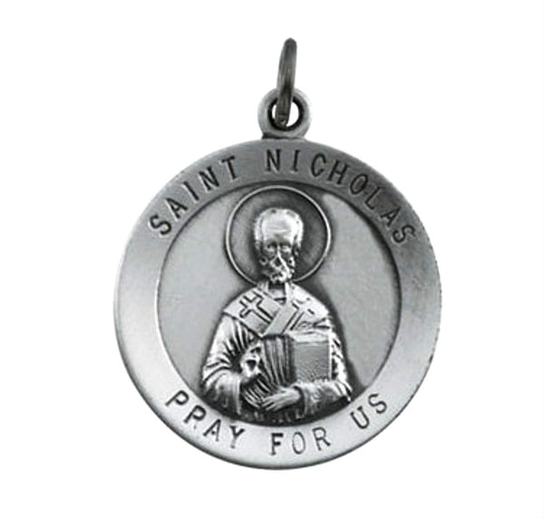 Rhodium Plated Sterling Silver St. Nicholas Medal (18.25MM)