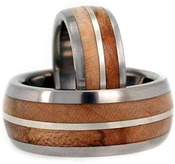 Maple Wood, Sterling Silver Comfort Fit Titanium Couples Wedding Band Set Size, M14.5-F5