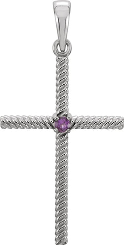 Platinum Amethyst Rope-Trim Cross Pendant (31.95x16.3MM)