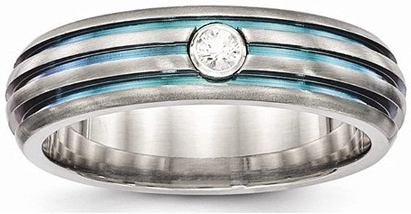 Edward Mirell Titanium Triple Groove Multicolor Anodized White Sapphire 6mm Wedding Band, Size 7