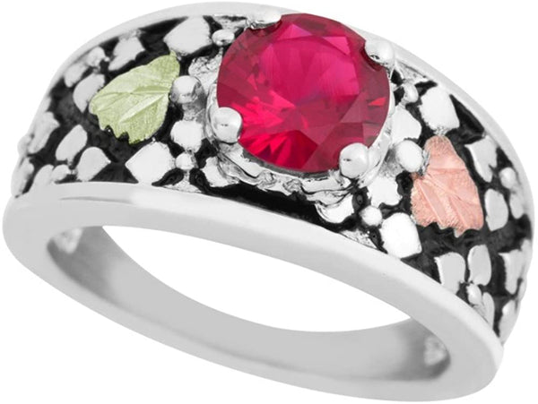 Antiqued Created Ruby Ring, Sterling Silver, 12k Green and Rose Gold Black Hills Gold Motif, Size 5.25