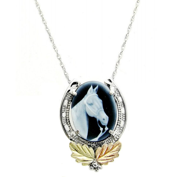 Cameo Horseshoe Pendant Necklace, Sterling Silver, 12k Green and Rose Gold Black Hills Gold Motif, 18""