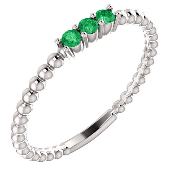 Platinum Chatham Created Emerald Beaded Ring, Size 6.5