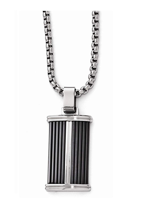 Edward Mirell Black Titanium and Stainless Steel Pendant Necklace, 20""