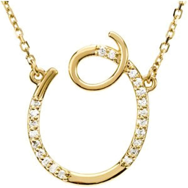 "14k Yellow Gold Alphabet Initial Letter O Diamond Pendant Necklace, 17"" (GH Color, I1 Clarity, 1/10 Cttw)"